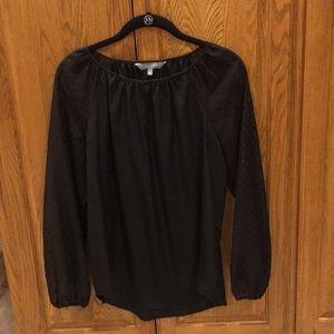 Daisy Fuentes silky 3/4 sleeve black blouse